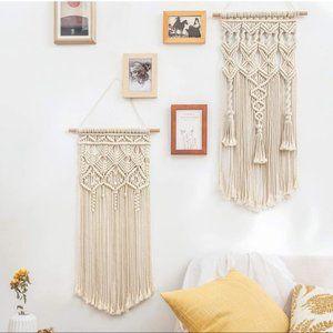 2 Pcs Macrame Woven Wall Geometric Art Decor